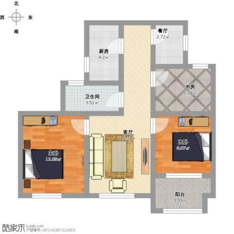 幸福城居住区经济适用房3室2厅1卫1厨88.00㎡户型图