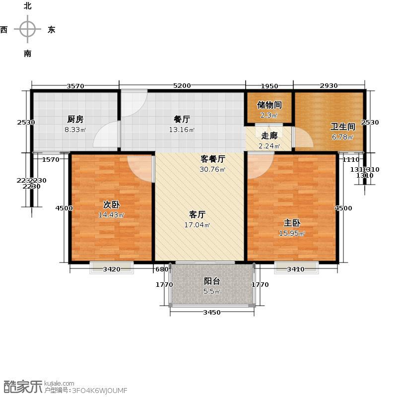 仁恒运杰河滨花园房型户型2室1厅1卫1厨