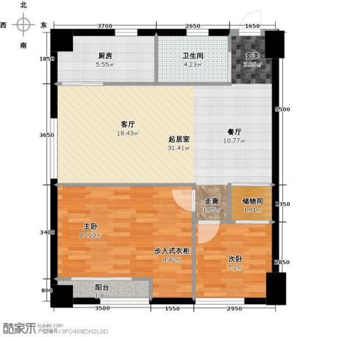 东怡外国2室0厅1卫1厨77.60㎡户型图