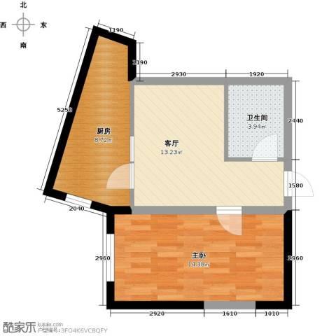 中交・金海湾1室1厅1卫1厨59.00㎡户型图