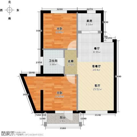 中交・金海湾2室1厅1卫1厨91.00㎡户型图