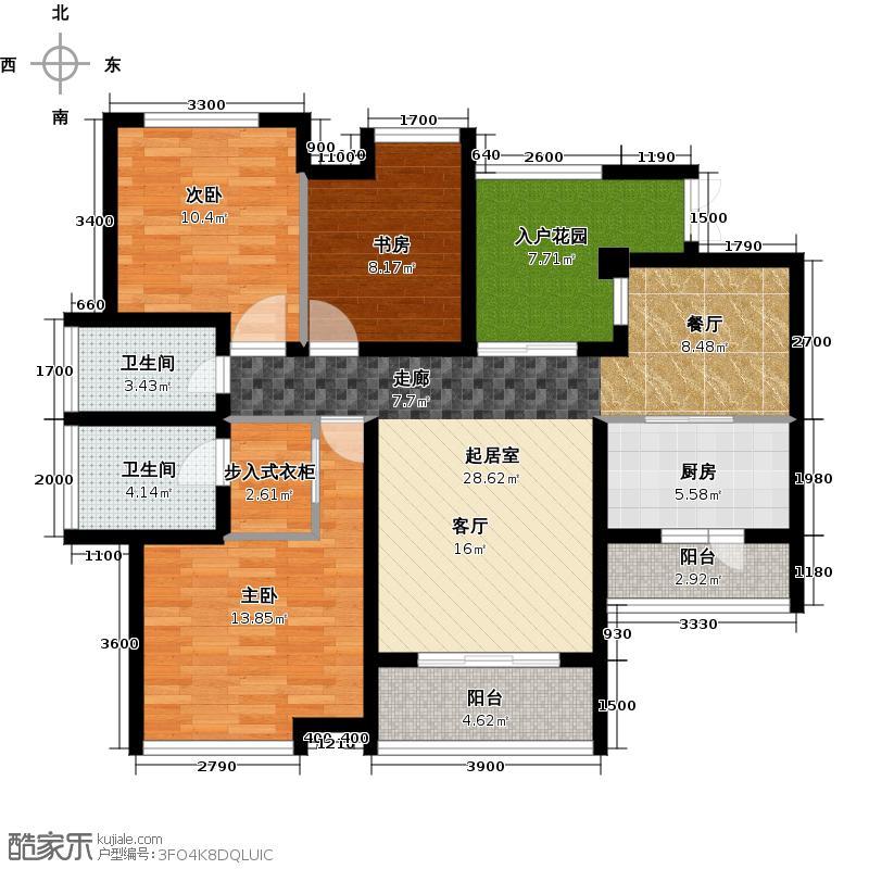 鲁能星城N2号楼1号房双卫带入户花园户型3室2卫1厨