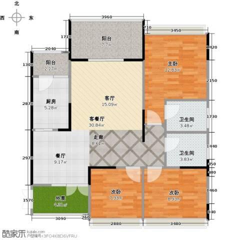 协信阿卡迪亚君临天下3室1厅2卫1厨118.00㎡户型图