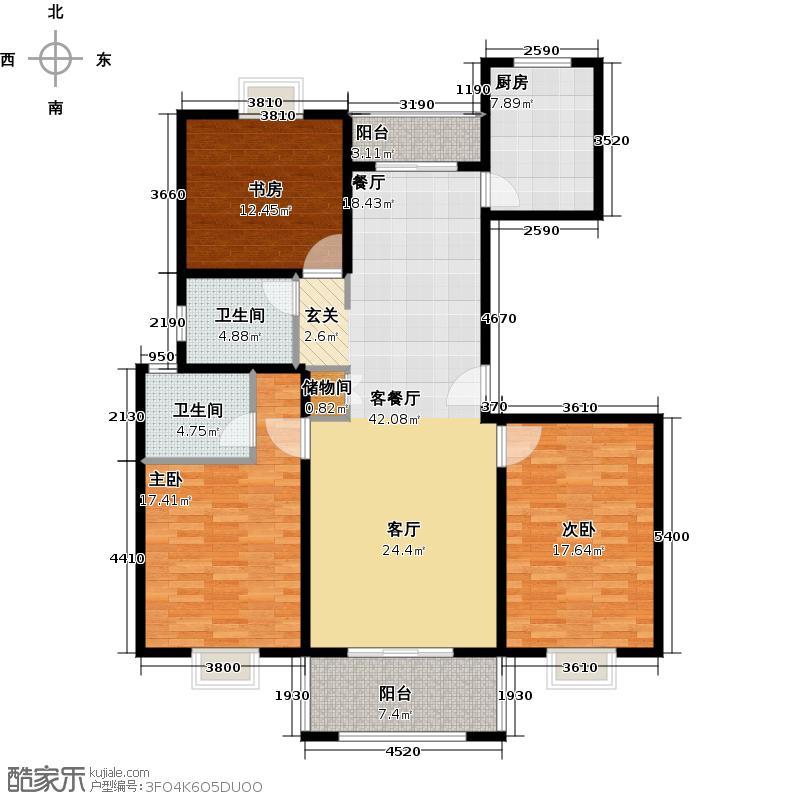 恒盛湖畔豪庭户型3室1厅2卫1厨