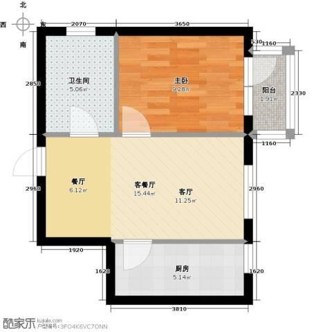 中交・金海湾1室1厅1卫1厨57.00㎡户型图