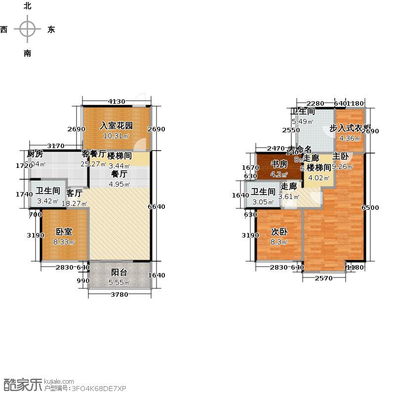 国香清林郡F1户型3室1厅3卫1厨