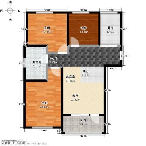 中体奥林匹克花园・蝶语湖3室0厅1卫1厨106.00㎡户型图