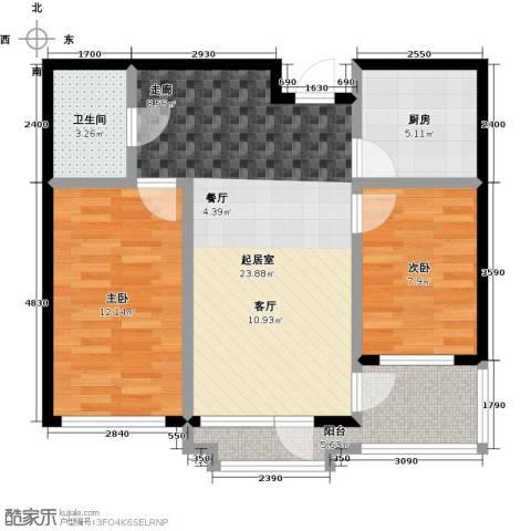 中体奥林匹克花园・蝶语湖2室0厅1卫1厨87.00㎡户型图