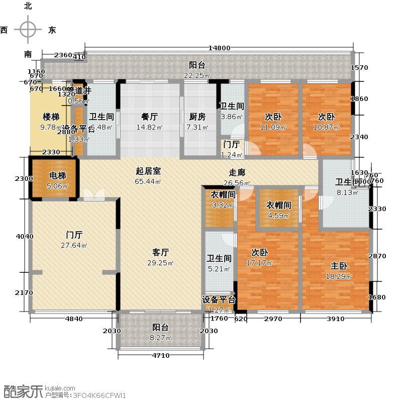 尚轩1033栋2层3-14单元户型4室4卫1厨