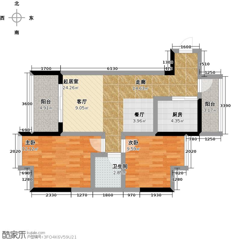 黔龙1号2号楼A户型2室1卫1厨