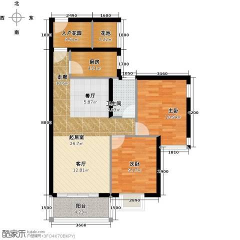 金城广场2室0厅1卫1厨81.00㎡户型图
