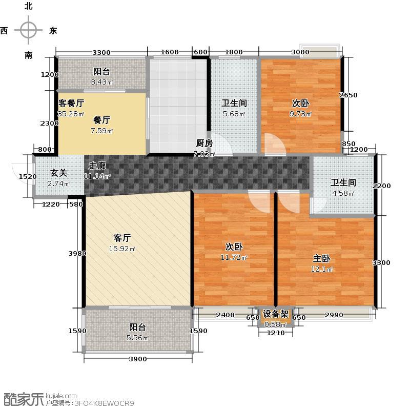 深业睿城D户型3室1厅2卫1厨