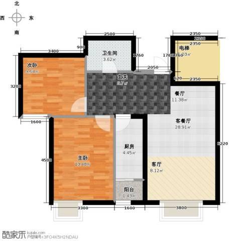 天和林溪2室1厅1卫1厨85.00㎡户型图