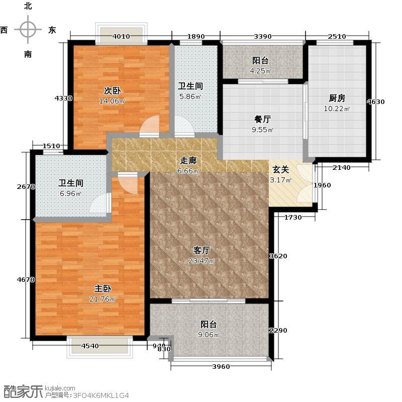 盛世宝邸B3户型2室2卫1厨