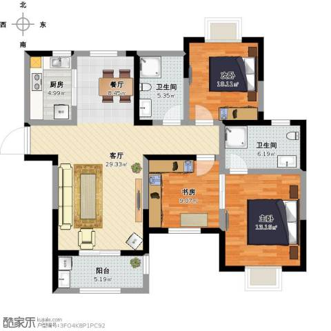 山湖花园3室1厅2卫1厨127.00㎡户型图