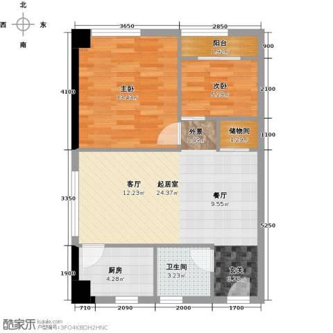 东怡外国2室0厅1卫1厨60.77㎡户型图
