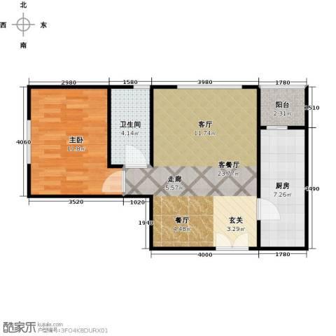 建邦枫景1室1厅1卫1厨62.00㎡户型图