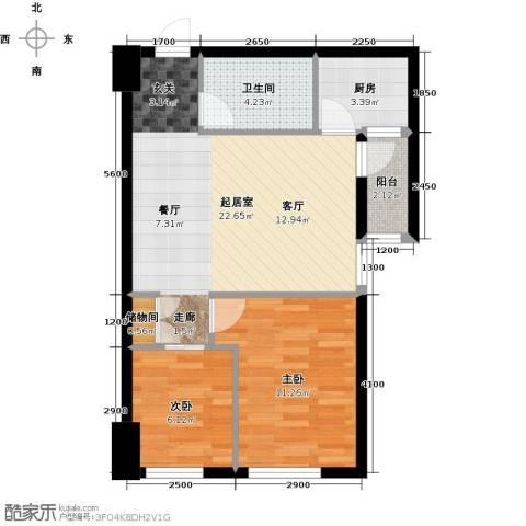 东怡外国2室0厅1卫1厨70.00㎡户型图