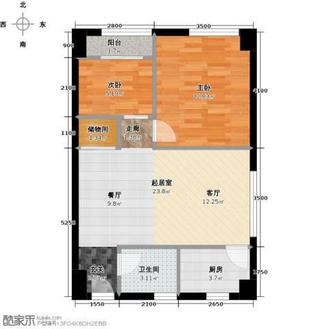 东怡外国2室0厅1卫1厨58.91㎡户型图