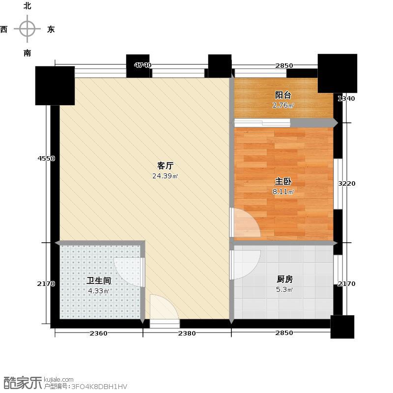 嘉汇公馆B型户型1室1厅1卫1厨