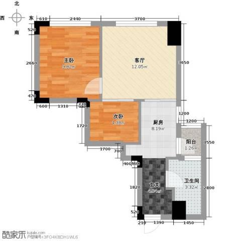 东怡外国2室1厅1卫1厨56.00㎡户型图
