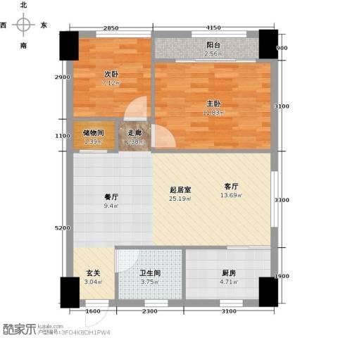 东怡外国2室0厅1卫1厨64.40㎡户型图