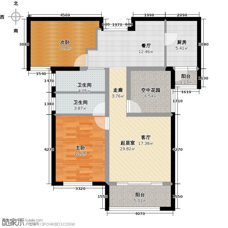 中铁西江悦户型2室2卫1厨