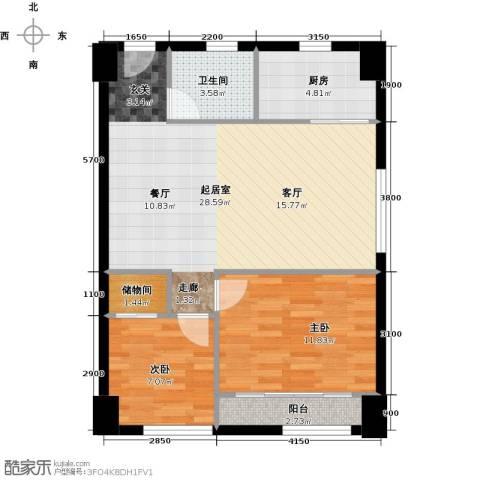 东怡外国2室0厅1卫1厨83.00㎡户型图