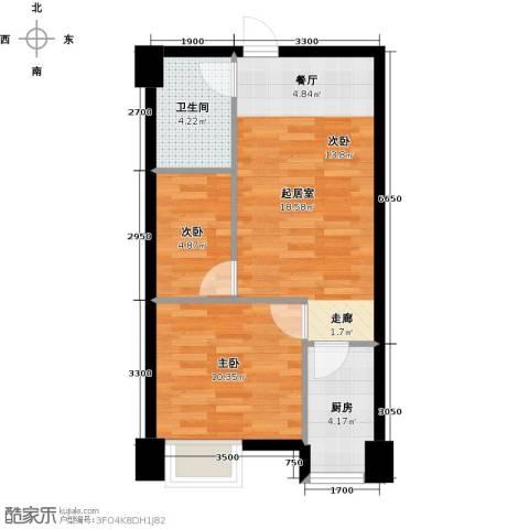 东怡外国2室0厅1卫1厨61.00㎡户型图