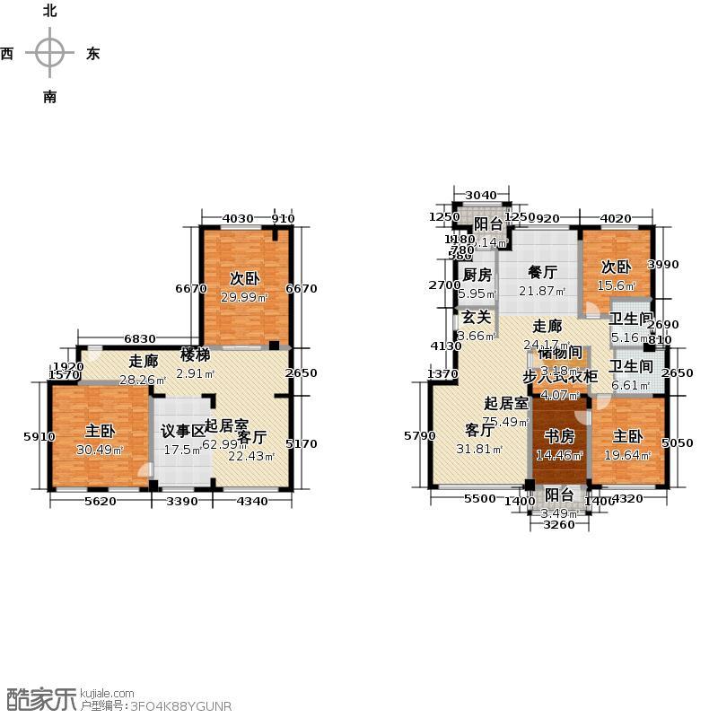71墅洋房4、11号楼1门101、2门102户型5室2卫1厨