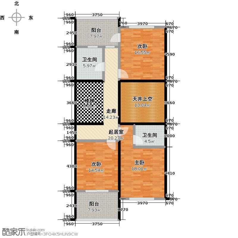 绿地诺丁山n1东-2F户型3室2卫