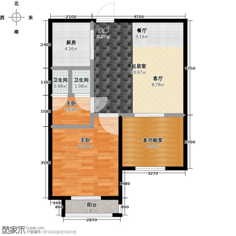 东方圣克拉F2半户型2室2卫1厨