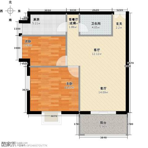 戛纳35号2室1厅1卫1厨100.00㎡户型图