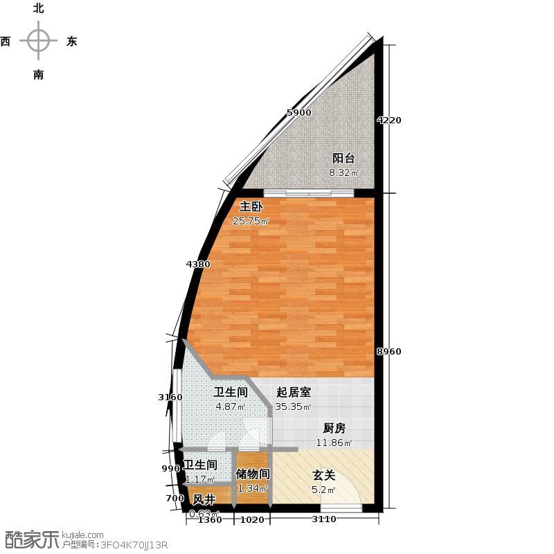 美锦湾58.00㎡A户型2卫