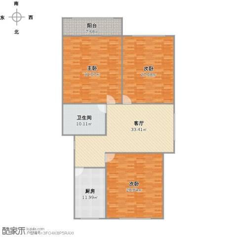 芳华路188弄小区3室1厅1卫1厨198.00㎡户型图