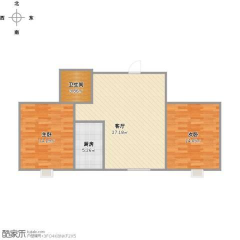 天赐康缘新区2室1厅1卫1厨86.00㎡户型图