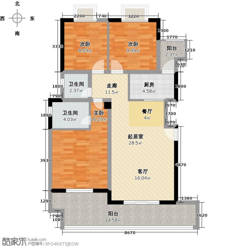 港腾御景江山户型3室2卫1厨
