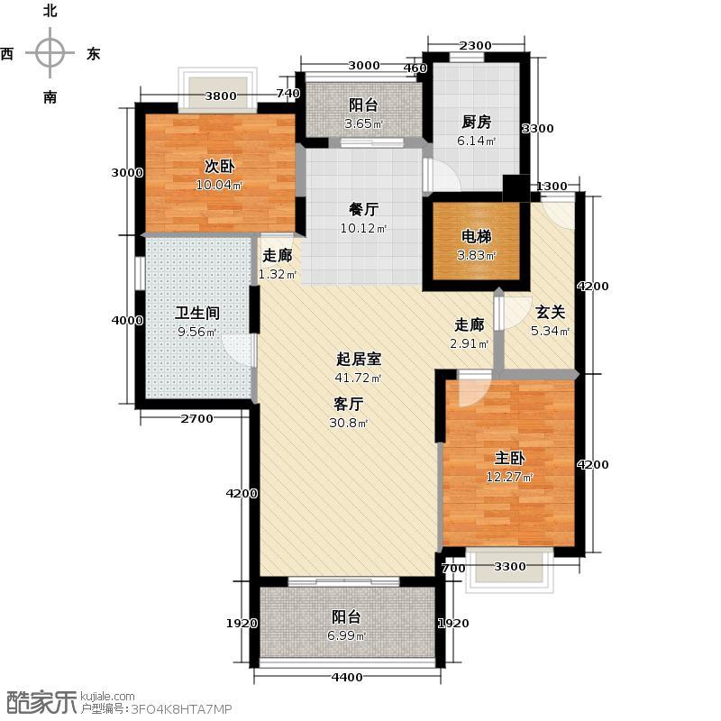星语林汀湘十里楼改两套居高层4-6栋17层复式上层平面图户型2室1卫1厨