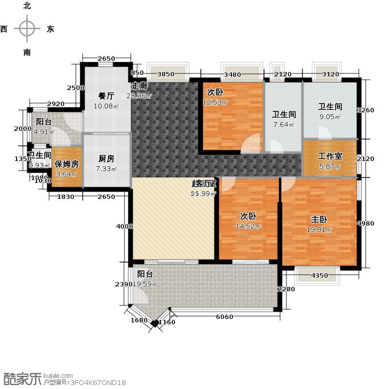 汇景新城E2-B3栋01单元户型3室3卫1厨