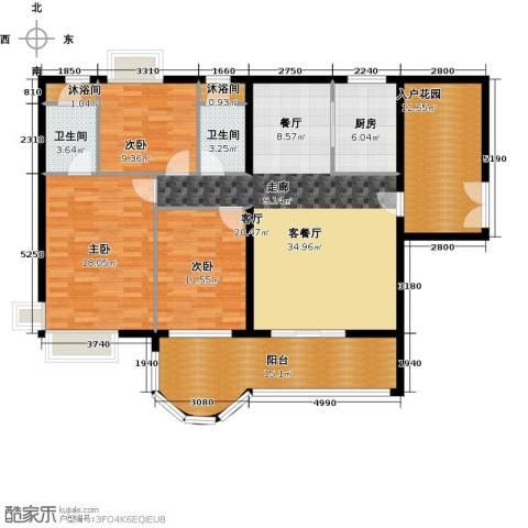 亿泉尚园3室1厅2卫1厨140.00㎡户型图