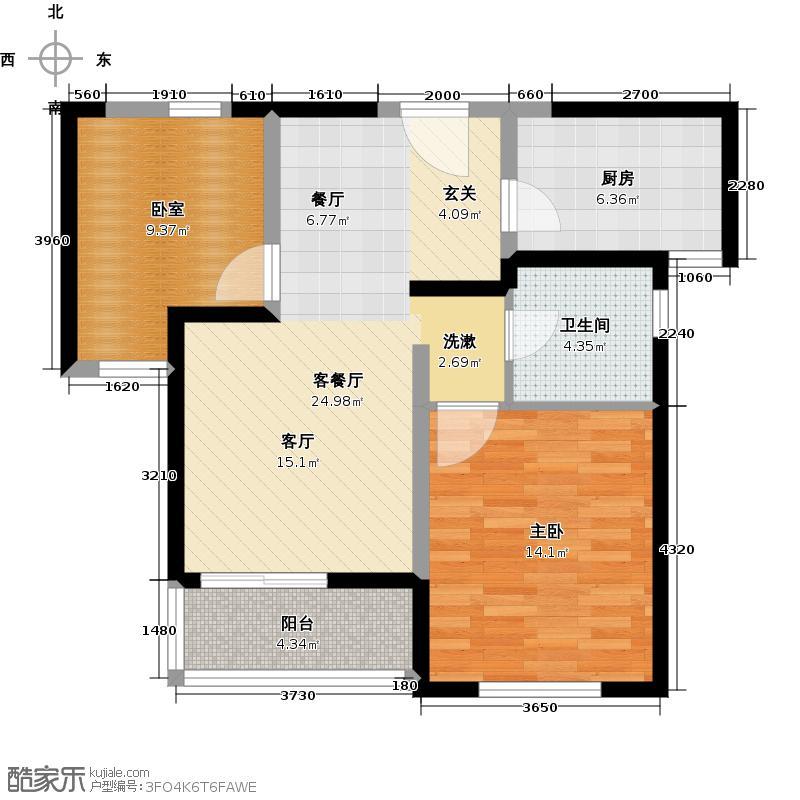 中国铁建国际城A1户型1室1厅1卫1厨