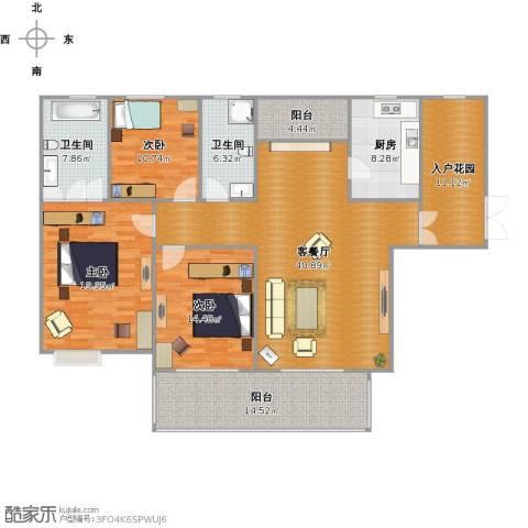金科新大陆3室1厅2卫1厨185.00㎡户型图