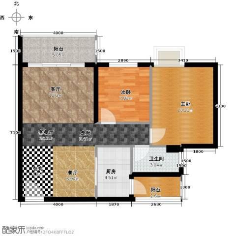 锦龙又一城2室1厅1卫1厨78.00㎡户型图