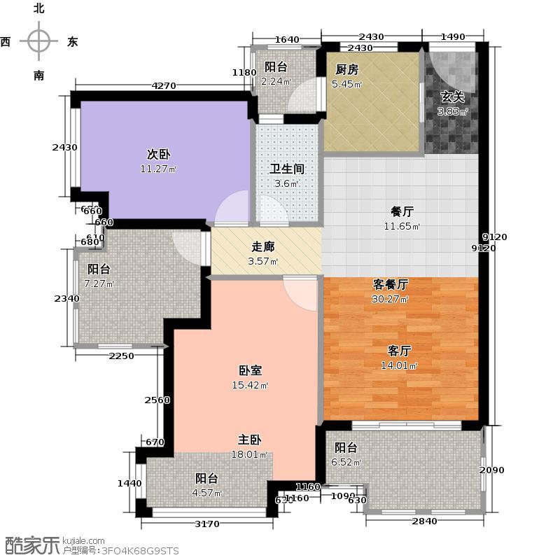 时代南湾珈蓝海寓户型2室1厅1卫1厨