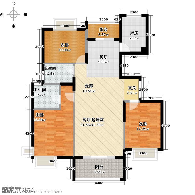 星语林汀湘十里江景高层双层两套居复式下层户型3室2卫1厨