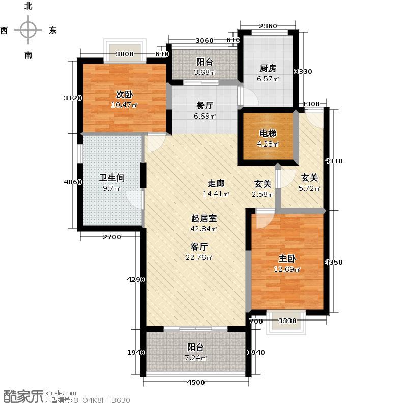星语林汀湘十里江景高层双层两套居复式上层户型2室1卫1厨