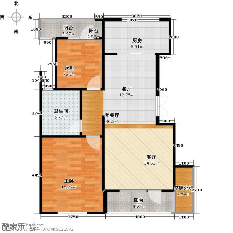 美好桂花溪园84.10㎡北区5号楼6号楼户型2室1厅1卫1厨