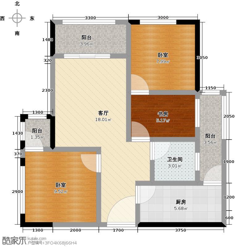 蓝光幸福满庭D2户型1室1厅1卫1厨