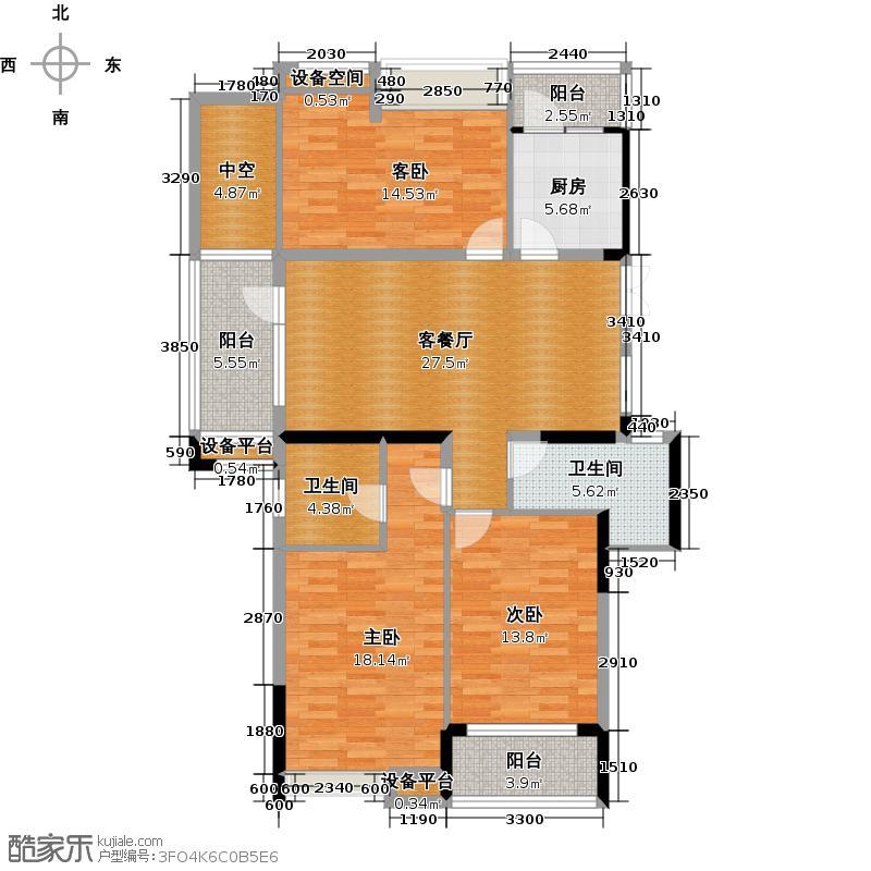 中和北宸府135.62㎡3、8号楼西边套奇数层C6户型3室1厅2卫1厨
