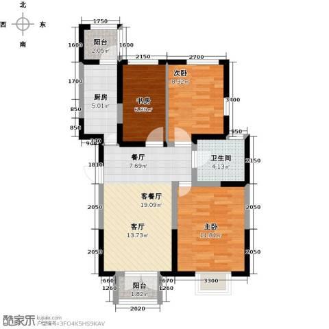 房信海景园3室1厅1卫1厨92.00㎡户型图